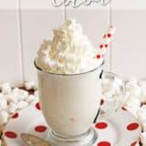 white christmas cocoa in a glass mug