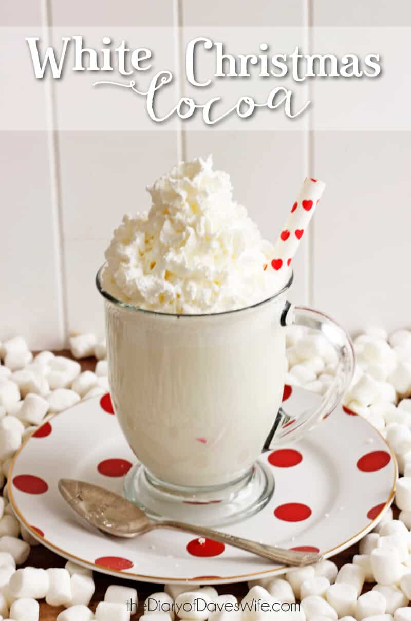 white christmas cocoa in a glass mug