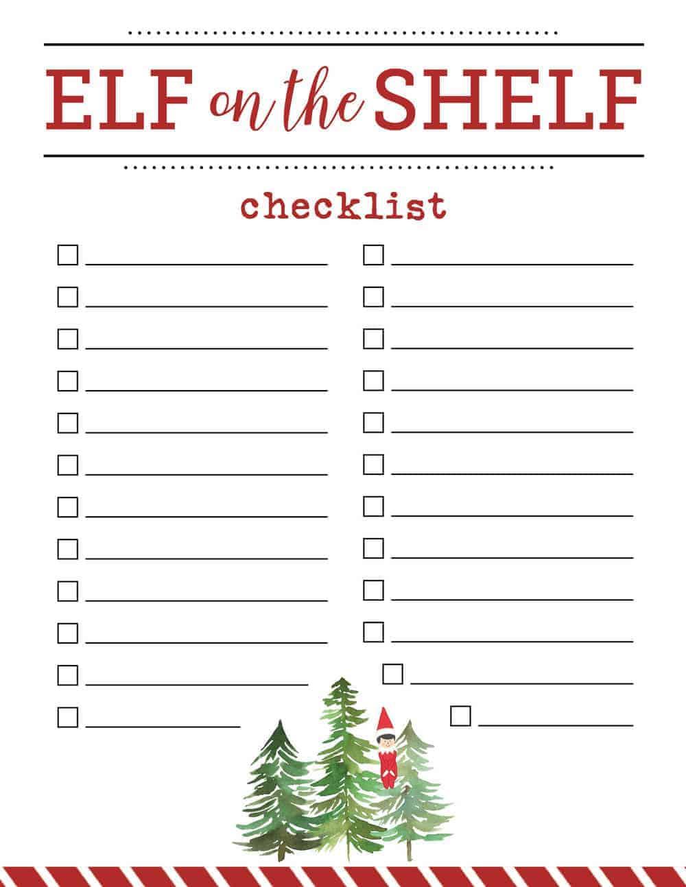 elf on the shelf checklist