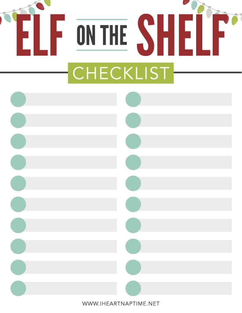 elf on the shelf checklist