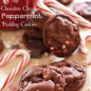 chocolate peppermint cookies on wood table