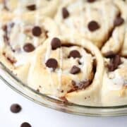 chocolate chip cinnamon rolls in pan