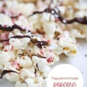 A close up of peppermint bark popcorn