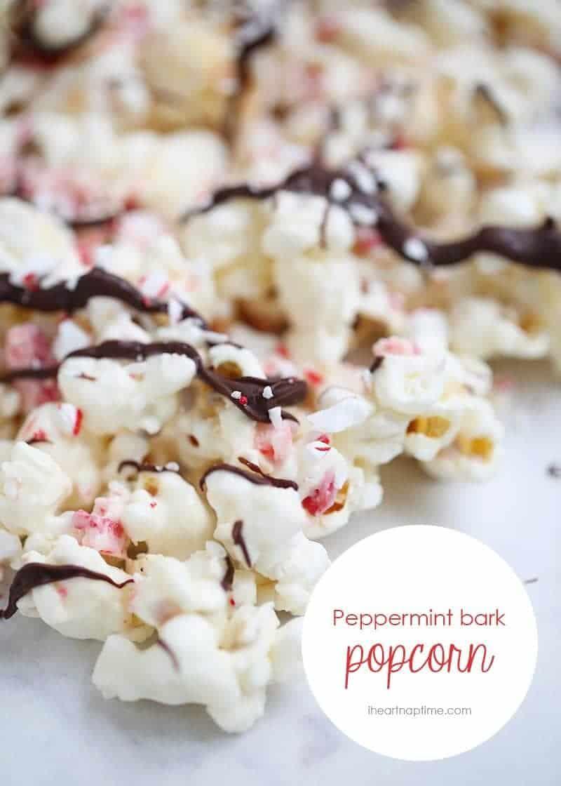 Chocolate peppermint bark popcorn