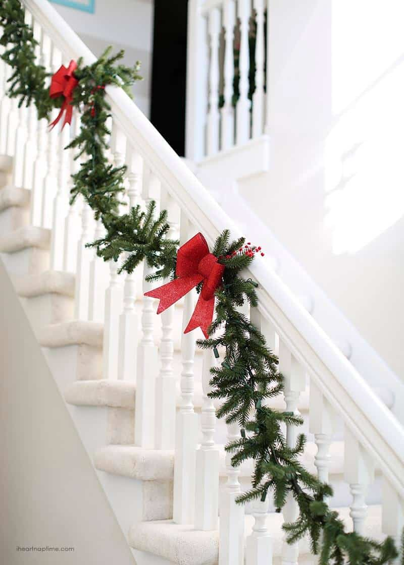 2014 holiday home tour i heart nap time - Christmas decorations for stair rail ...