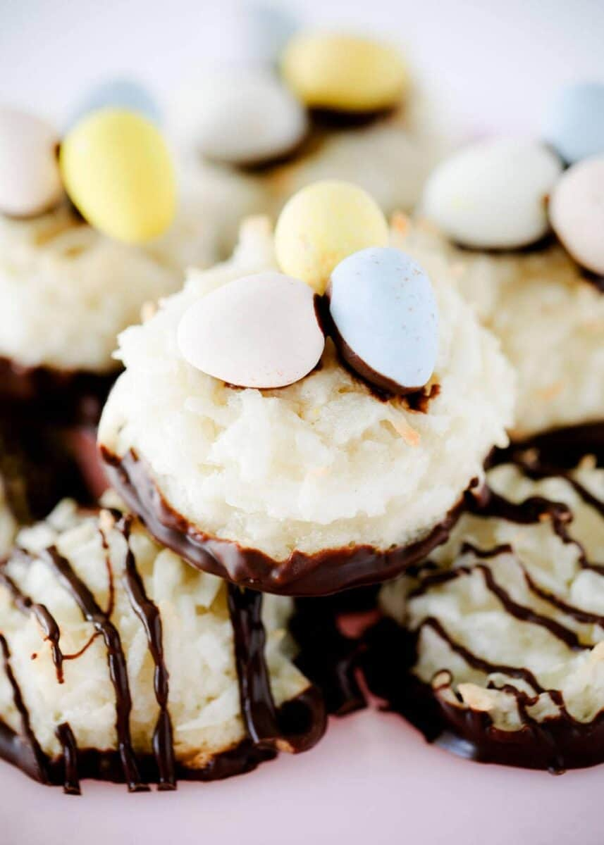 stack of decorated coconut macaroons