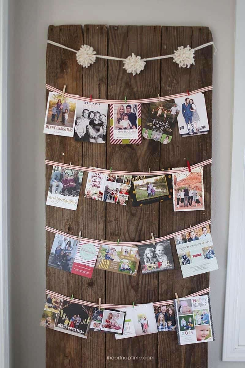 Cute way to hang Christmas cards