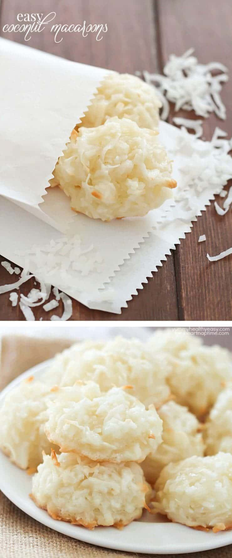 COCONUT MACAROONS -one of the easiest cookies to make! You only 6 ingredients and one bowl!