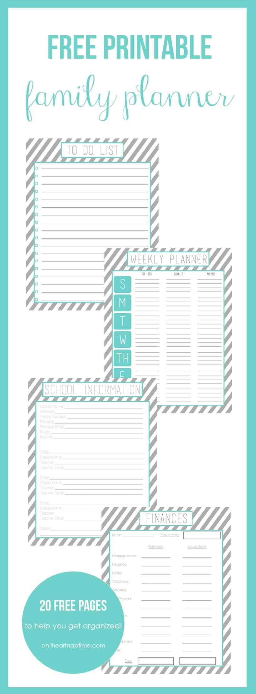 Superb image in free printable family planner