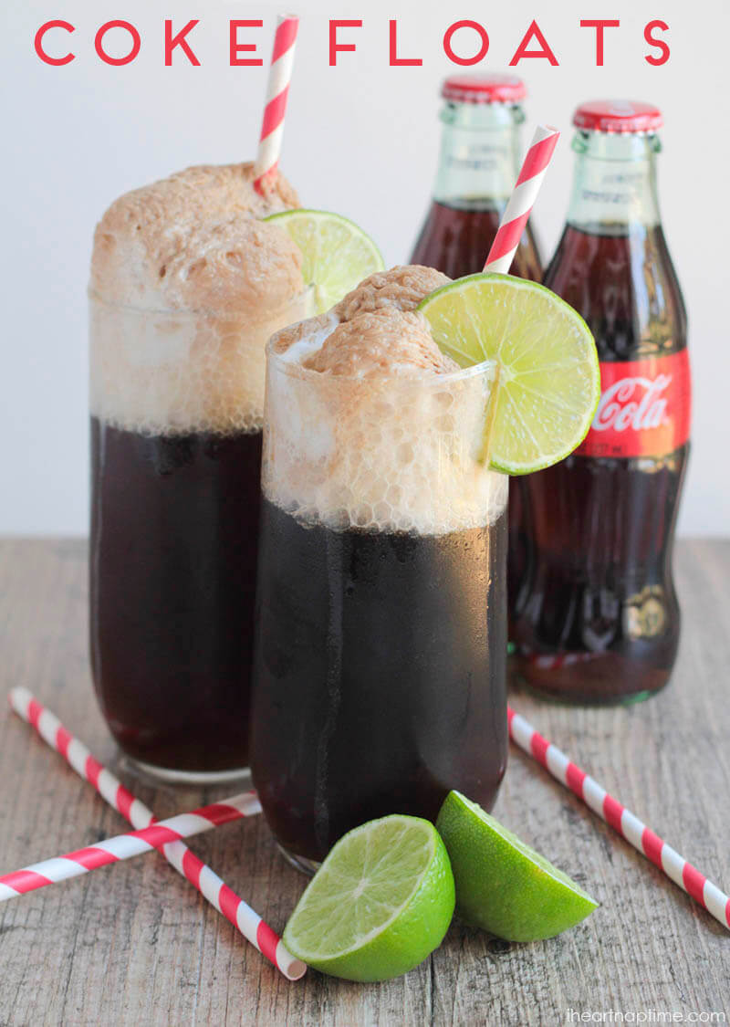 Coke floats! I love the combination of flavors, with the sweet coconut, tangy lime, creamy ice cream, and that classic Coca Cola taste.
