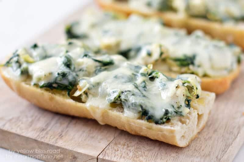 Spinach and Artichoke French Bread Pizza on iheartnaptime.com