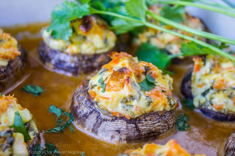 asian stuffed mushrooms in sauce