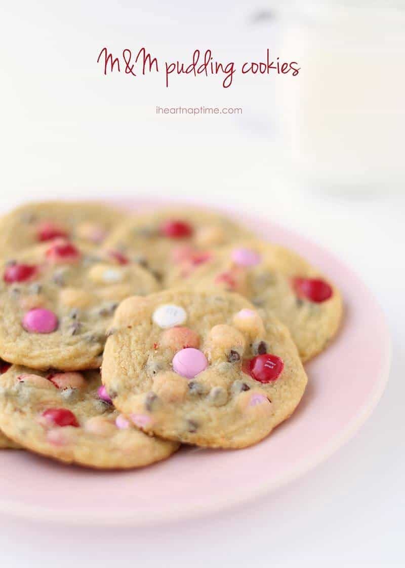 A close up of valentine M&M pudding cookies on plate