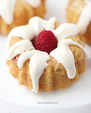 mini raspberry bundt cake on white plate
