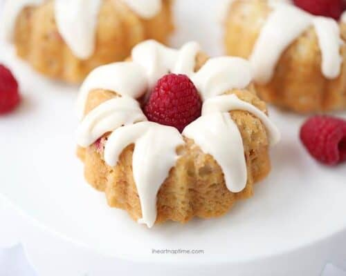 mini raspberry bundt cake on white plate