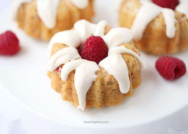 White Chocolate Raspberry Mini Bundt Cake Recipe