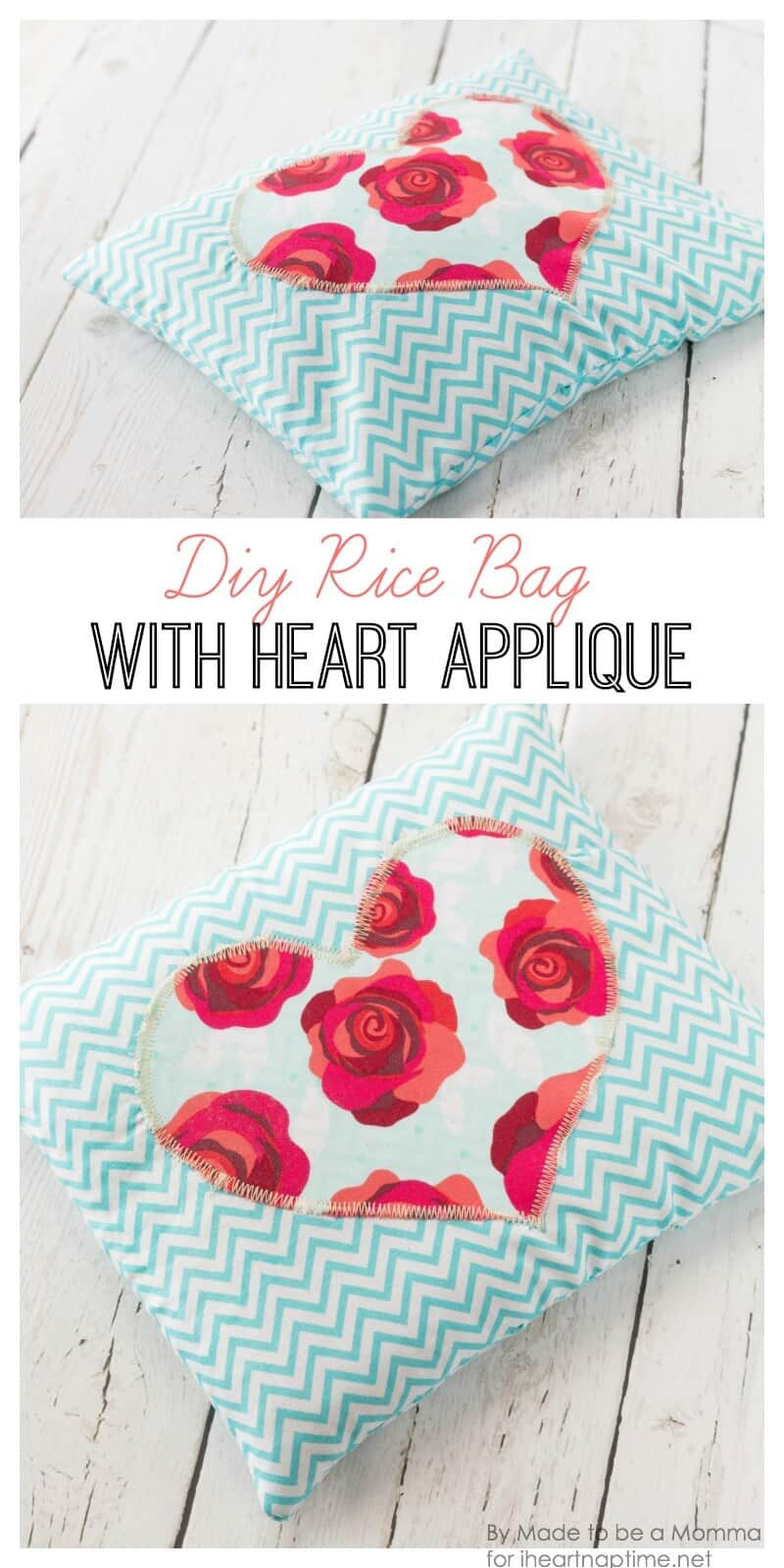 DIY Rice Bag with Heart Appliqué on iheartnaptime.com