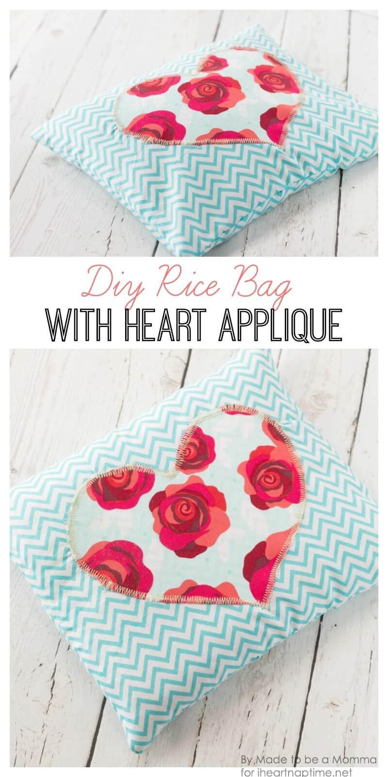 DIY Rice Bag with Heart Appliqué on iheartnaptime.com