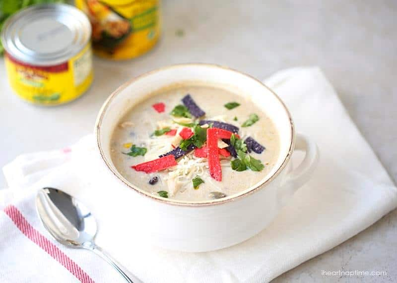 bowl of green enchilada soup