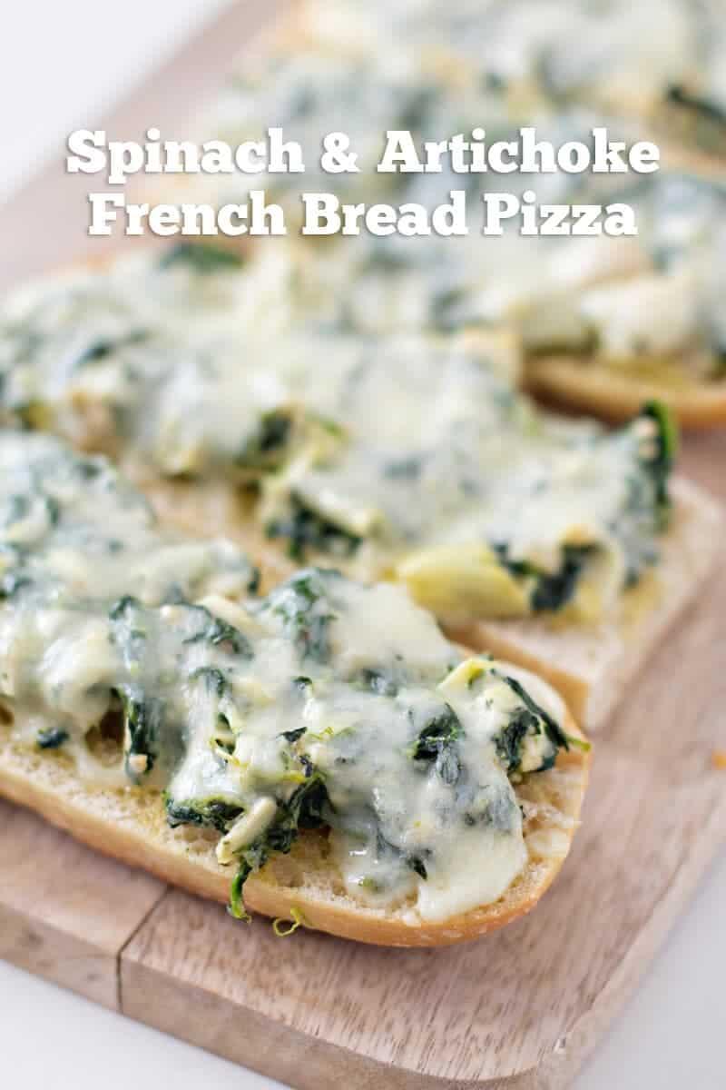 Spinach and Artichoke French Bread Pizza title