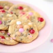 valentine chocolate chip cookies on a plate