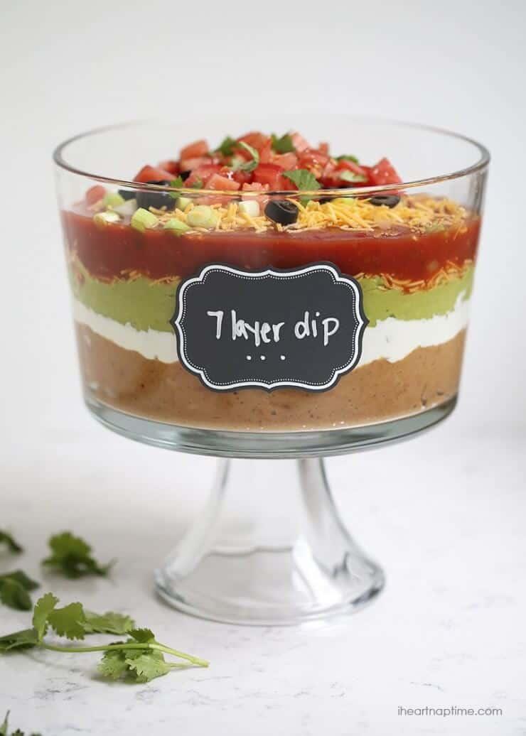 7 layer dip in a trifle jar