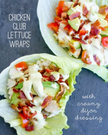 chicken club lettuce wraps with ranch drizzled on top