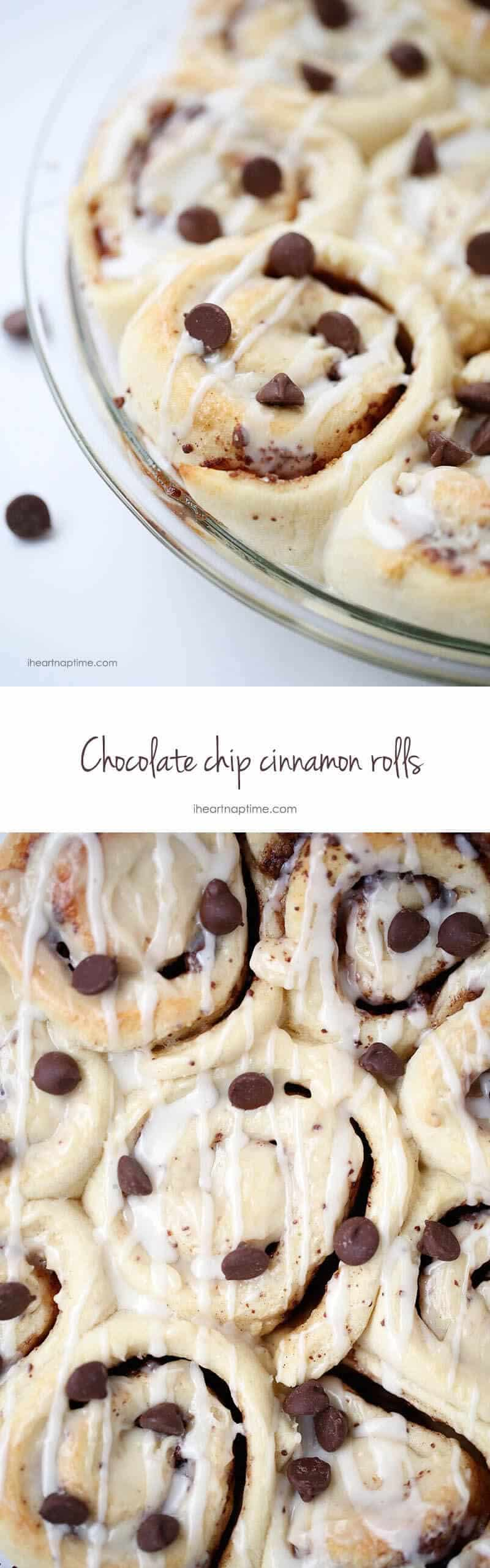 chocolate chip cinnamon rolls collage
