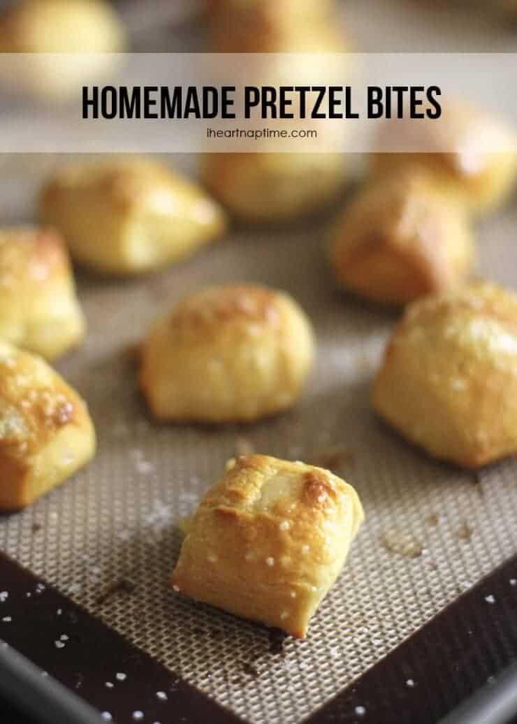 A close up of mini pretzel bites on baking sheet