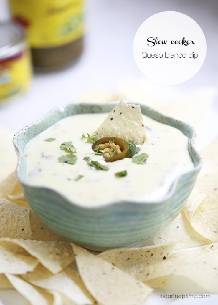 bowl of queso blanco with tortilla chips