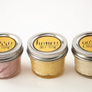 sweet and savory compound butter in mini mason jars with labels