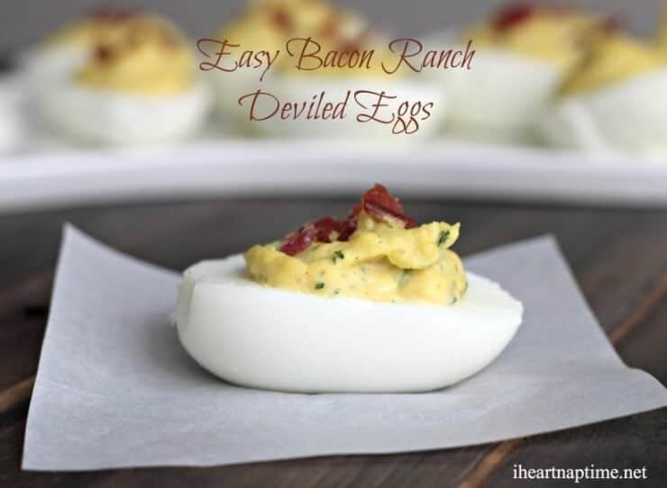 bacon ranch deviled egg on a piece of wax paper