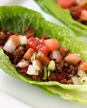 lettuce cup with taco meat and pico de gallo