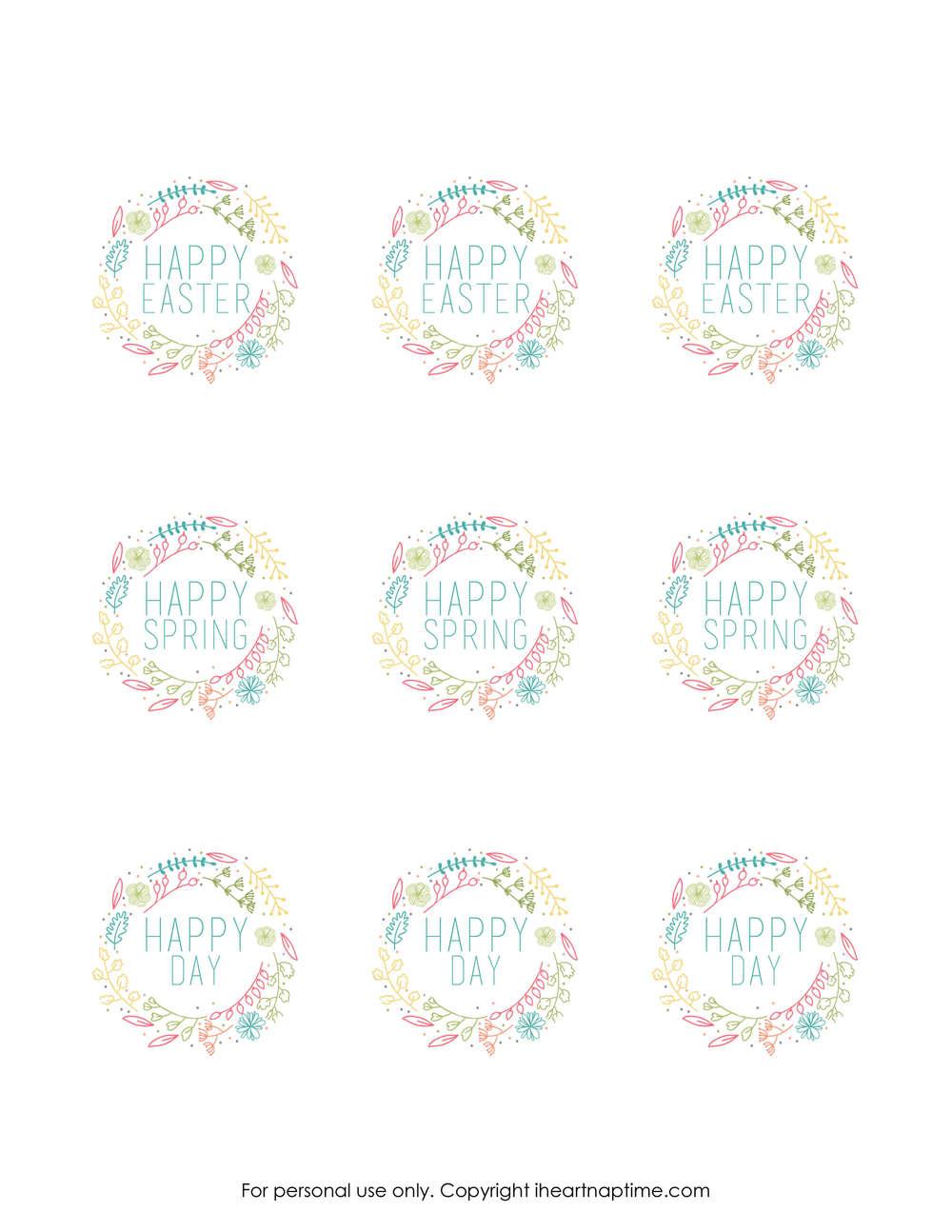 Free Spring printable tags - I Heart Nap Time