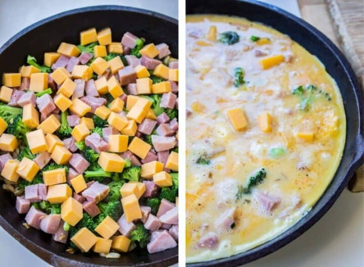 adding egg mixture on top of cheese, ham and broccoli in cast iron skillet