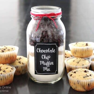 chocolate chip muffin mix in a mason jar