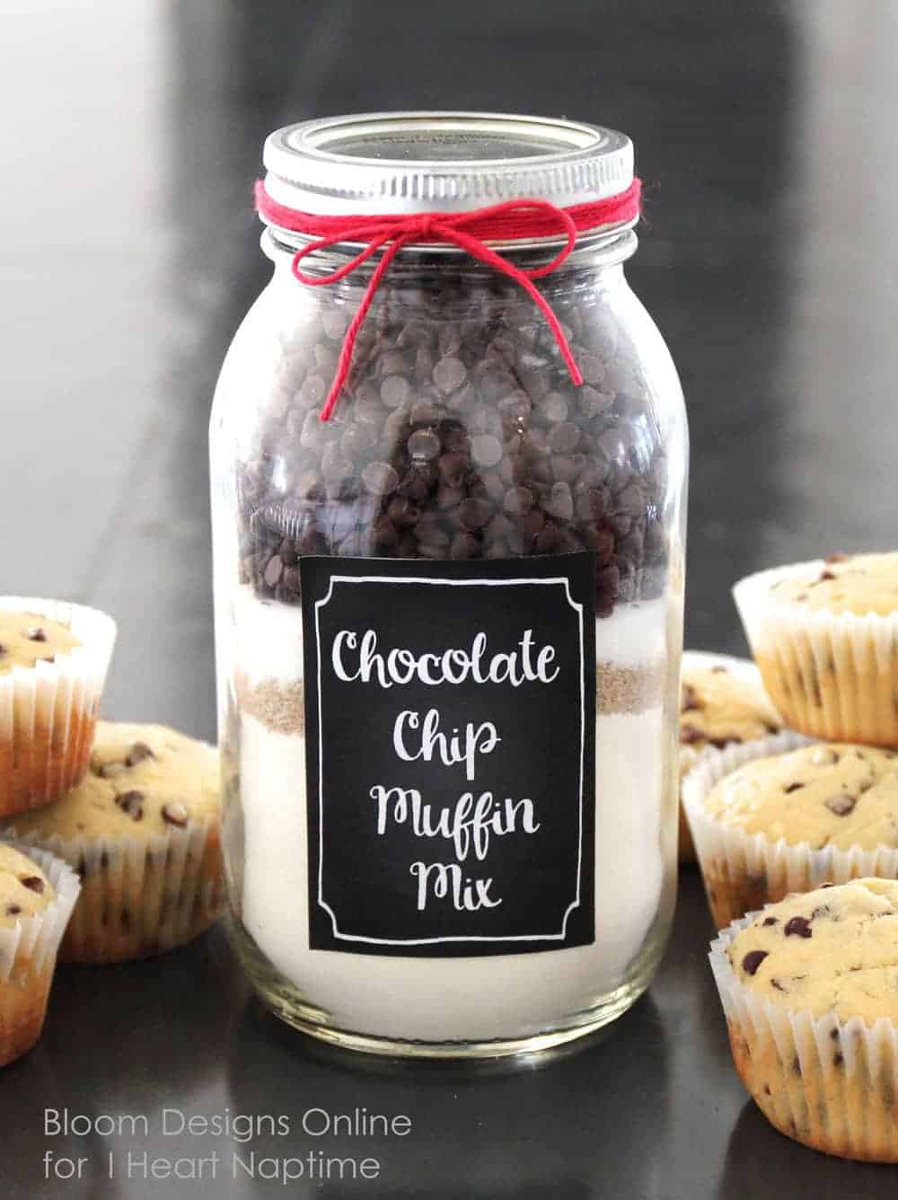 A close up of chocolate chip muffin mix in a mason jar