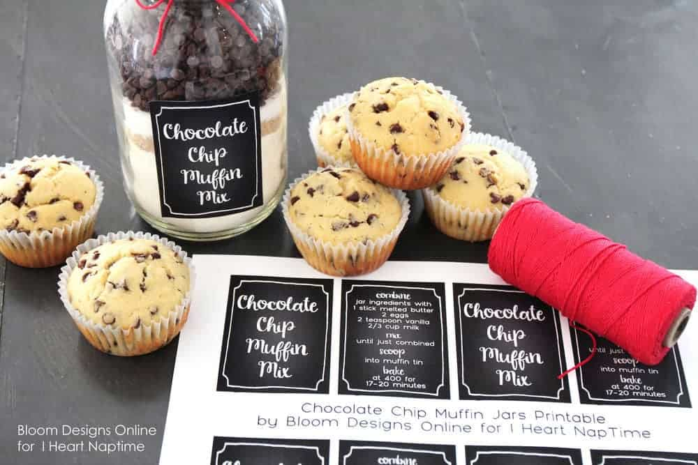 chocolate chip muffin mix in a mason jar on the counter with muffin labels