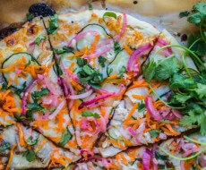 Thai Pizza with Zucchini and Pickled Onions