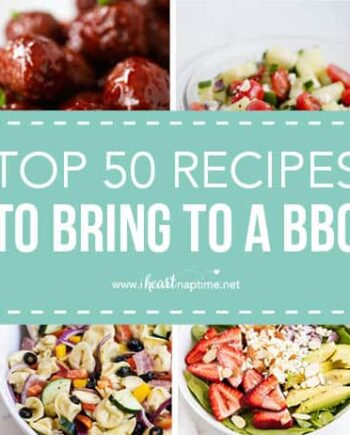 collage of recipes to bring to a BBQ
