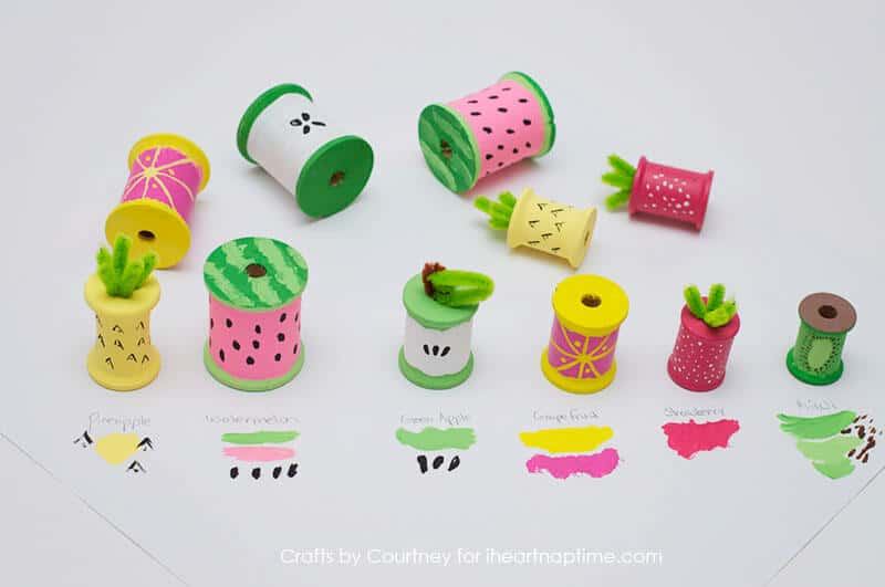 Summer kids craft - Fun Summer Fruit With Thread Spools