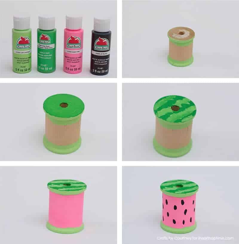 Watermelon craft - Fun Summer Fruit With Thread Spools