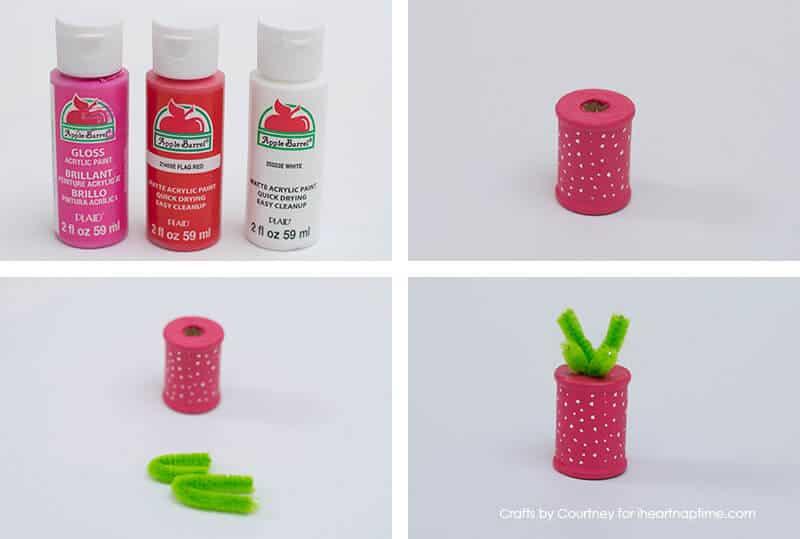 Strawberry craft - Fun Summer Fruit With Thread Spools