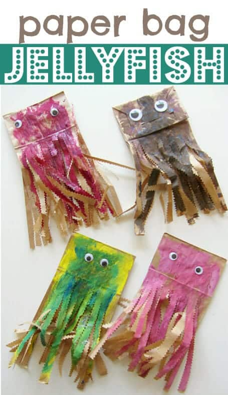 kids crafts paper bag jellyfish