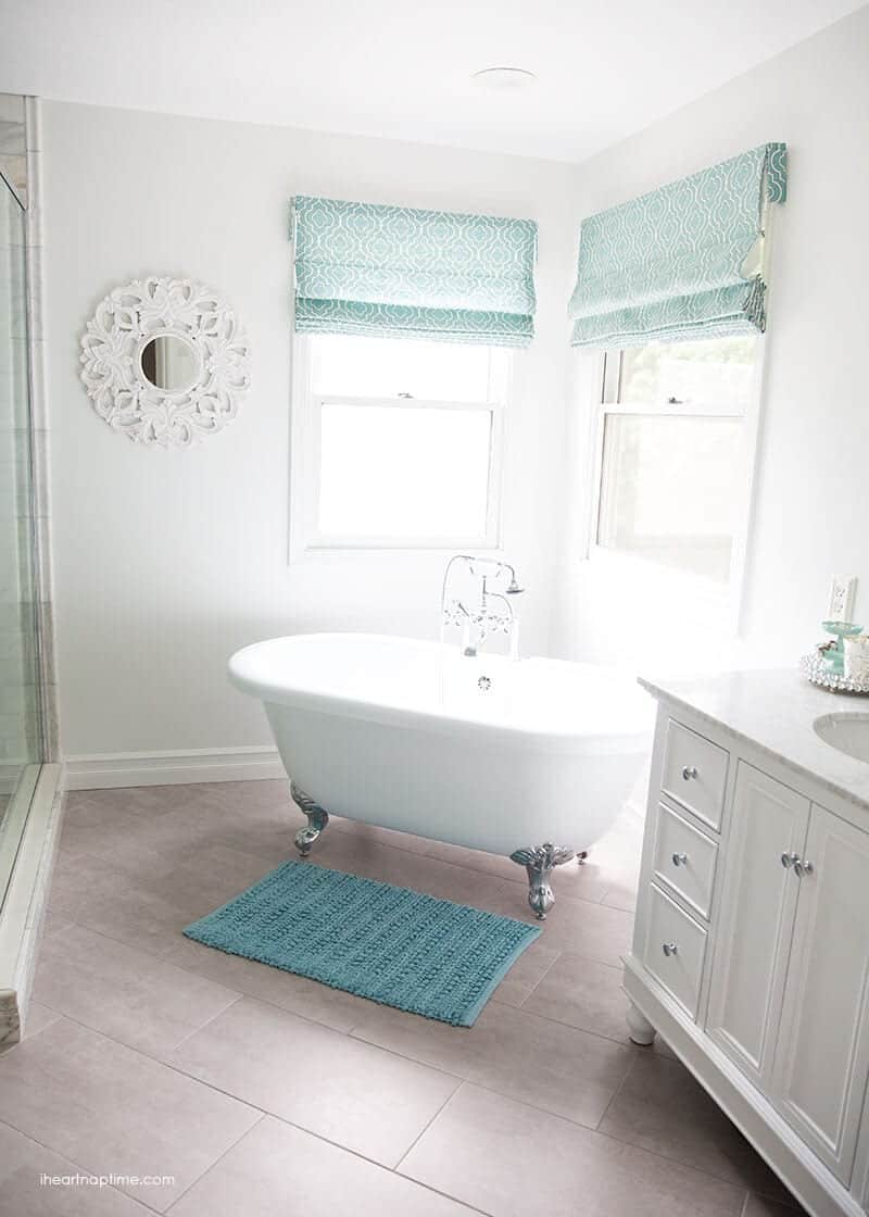 Inspirational Bathroom makeover via I Heart Naptime Grey and white bathroom remodel with Carrara marble herringbone