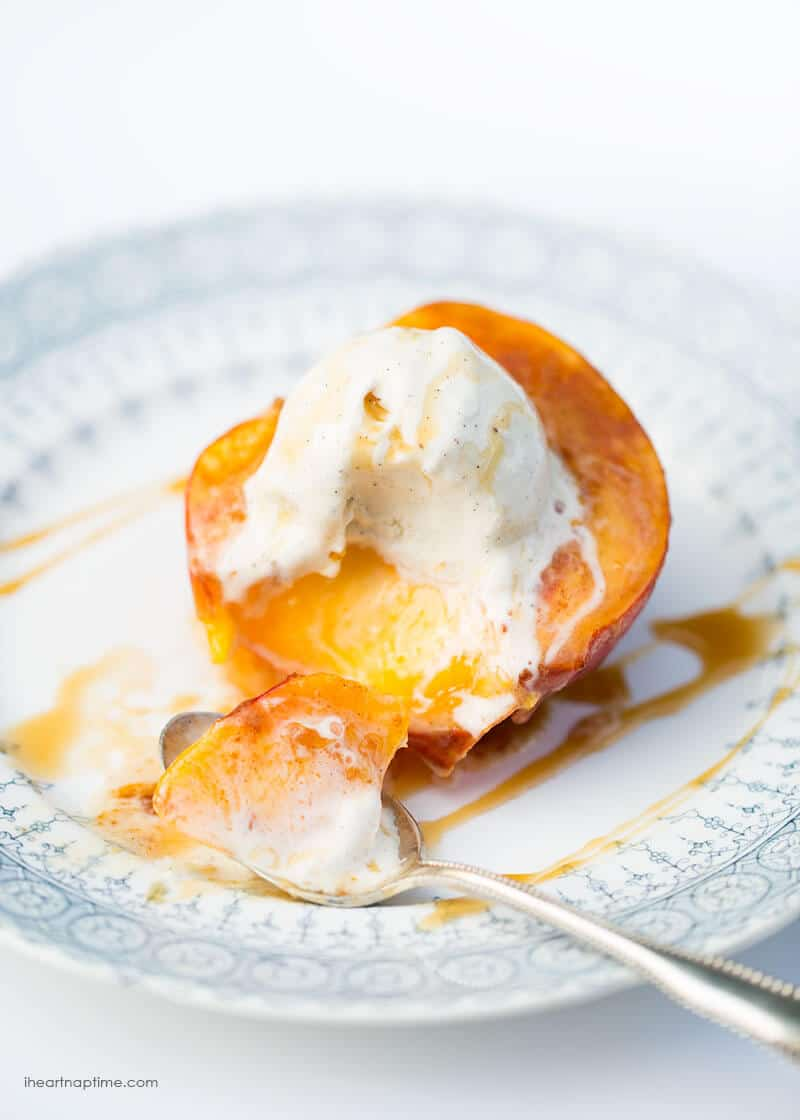 Baked peaches with brown sugar, butter and cinnamon. Tastes like a homemade peach pie without all the work and calories!