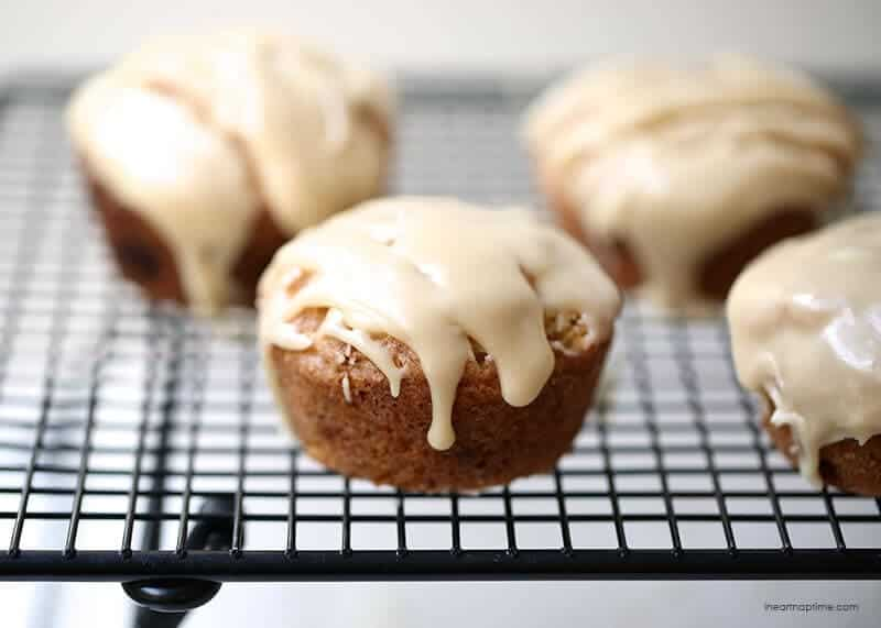 maple glazed snickerdoodle muffin on cooling rack