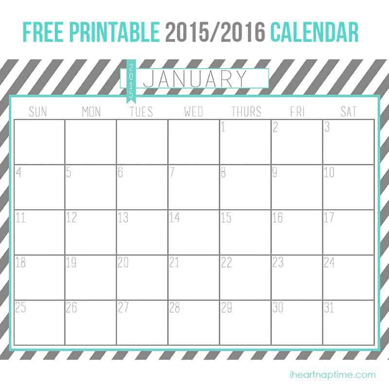 2015-2016 Free Printable Calendar - I Heart Nap Time