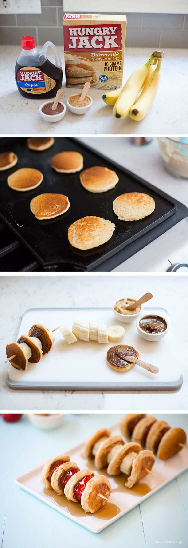 Mini pancake kabobs -fill with your favorite fruit and spreads for the ultimate breakfast, snack or dessert on iheartnaptime.com