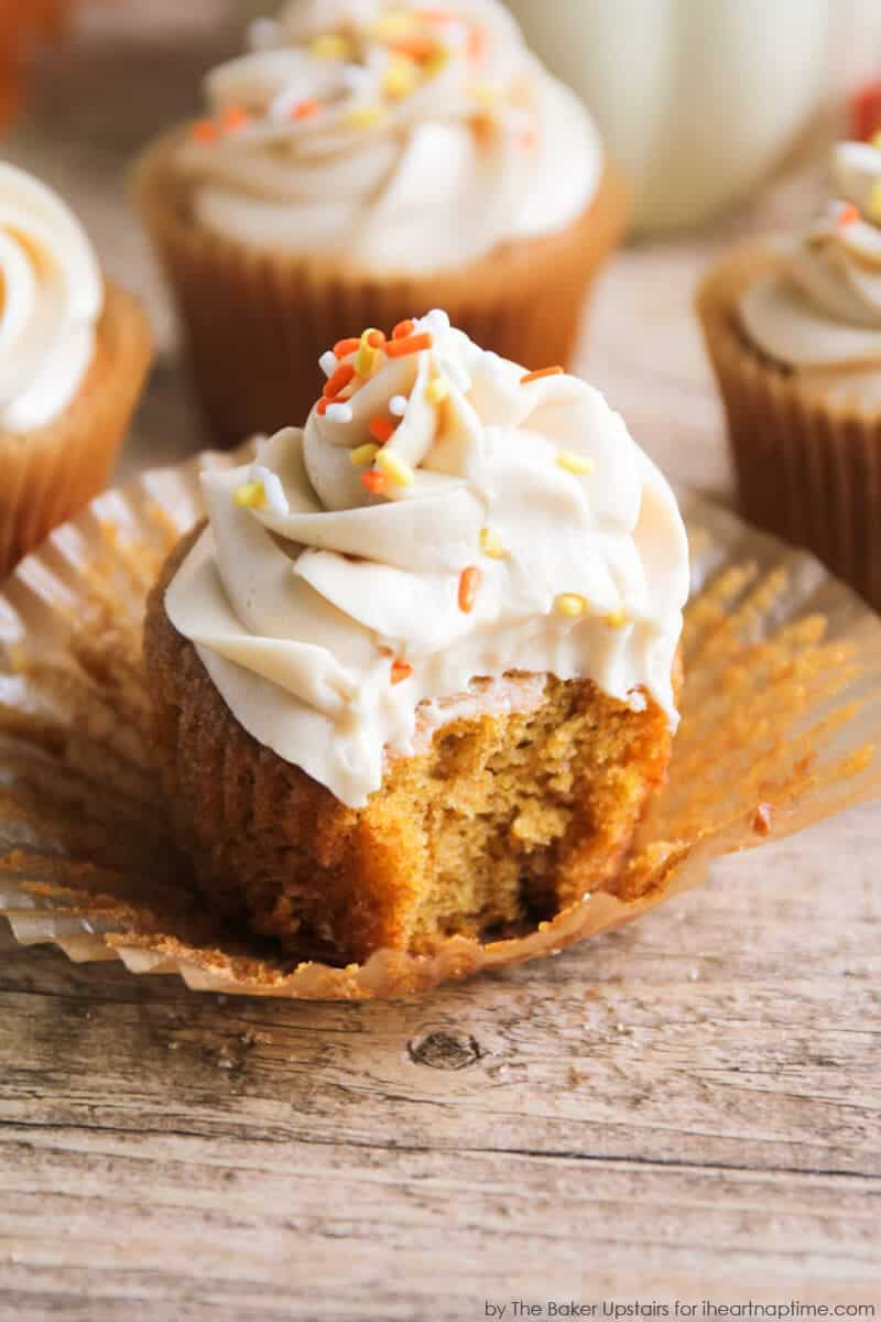 Pumpkin Spice Cupcakes by Alicia of The Baker Upstairs for I Heart ...